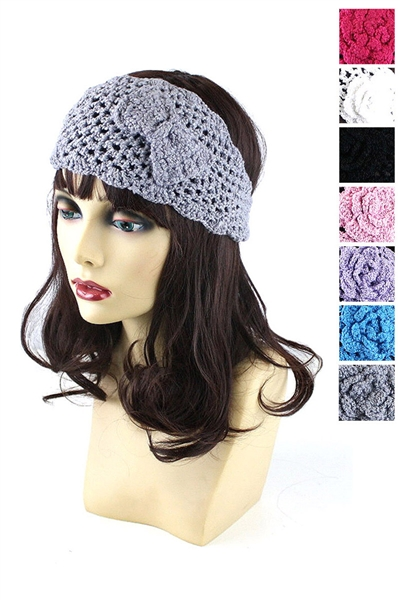Dozen Assorted Color Ribbon Charm Knitted Headwrap