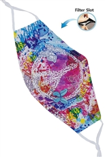 A Dozen Assorted Color Peace and Love Print Dust Proof Washable Mask with Filter Slot