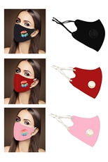 A Dozen Assorted Color Lips Print Respirator Dust Proof Mask