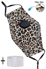 A Dozen Assorted Color Leopard Dust Proof Washable Mask with Filter Slot