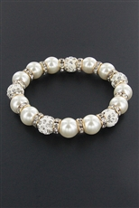 Dozen Assorted Color Rhinestone and Pearl Stretch Bracelet