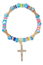 A Dozen Assorted Color Cross Charm Sparkling Crystal Stretch Bracelet