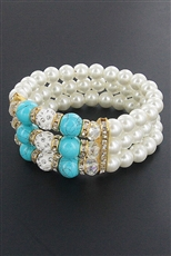 A Dozen Assorted Color Pearl and Gemstone Stretch Bracelet