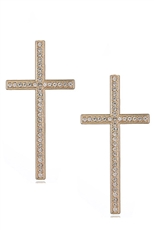 A Dozen Assorted Color Rhinestone Cross Earring