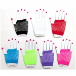 Dozen Assorted Neon Color Fishnet Fingerless Gloves