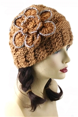 Dozen Assorted Color Crystal Flower Accent Knit Headwrap