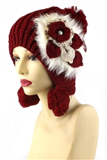 DZ Pack Assorted Color Faux Fur Flower Accent Knit Pom Pom Beanie
