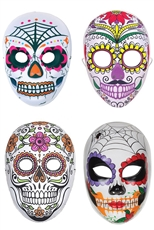 Dozen Assorted Color Halloween Sugar Skull Mask
