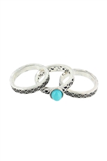 Dozen Assorted Color 3-pc Turquoise Ring Set
