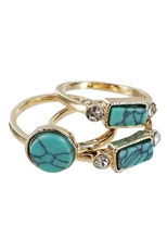 A Dozen Assorted Color 3-pc Turquoise Ring Set