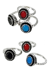 A Dozen Assorted Color 3-pc Ring Set