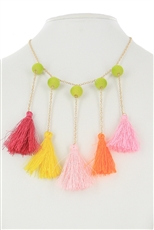 Dozen Assorted Color Multi Tone Tassel Necklace