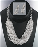 Metaillic Chunky Chain Necklace Earring Set