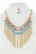 Multi Tone Turquoise Bead Chain Tassel Necklace Earring Set