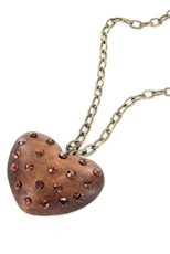Crystal Embedded Wooden Heart Pendant Necklace
