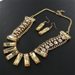 Rhinestone/Acrylic Stone Drape Necklace and Earring Set