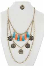 Multi Tone Tassel Chain Layered Necklace Earring Set
