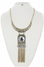 Antique Tone Rhinestone Chain Tassel Statement Necklace Earring Set