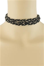 Layered Suede and Chain Choker Necklace