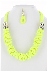Neon Color Braided Necklace Earring Set