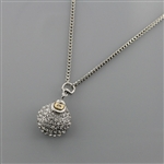 Crystal Stone Embeded Round Pendant Snake Chain Necklace