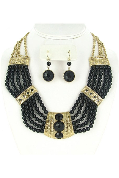 Acrylic Ball Beaded Bib Necklace Earring Set