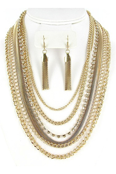 Gold Rhinestone Layered Chain Link Necklace Earring Set