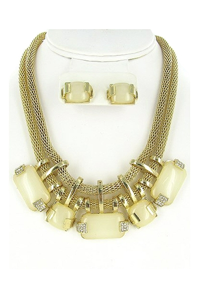 Acrylic Gem Statement Necklace Earring Set