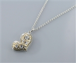 Multi Size Crystal Stone Heart Charm Necklace