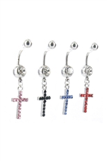 Dozen Assorted Color Rhinestone Cross Charm Belly Piercing