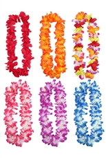 A Dozen Assorted Color Hawaiian Flower Leis Necklaces