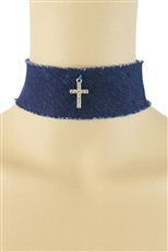 Dozen Assorted Color Cross Charm Denim Choker Necklace