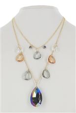 Dozen Assorted Color Teardrop Glass Pendant Necklace