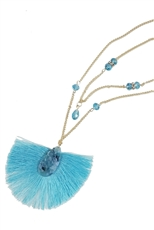 A Dozen Assorted Color Tassel Pendant Necklace