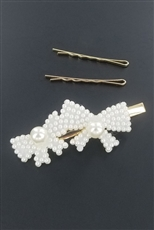 A Dozen 3-pc Faux Pearl Hair Clip Set
