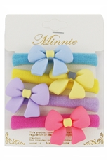 Dozen(4pcs each card) Assorted Color 4-pc Bow Accent Ponytail Holder Set
