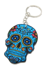 A Dozen Assorted Color Skull Key Chains
