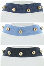 Dozen Assorted Color Denim Choker Necklace
