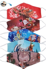A Dozen Assorted Color Dust Proof Christmas Theme Mask with Filter Slot
