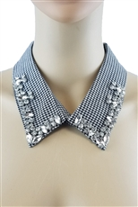 Glass Bead Checkered Collar Embellishment