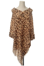 A Dozen Pack Assorted Color Leopard Print Poncho