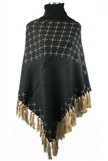 x Pattern Fringe Knit Turtleneck Poncho