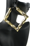 Dozen Gold Bamboo Square Earring