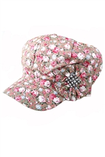 DZ Pack Assorted Color Floral Print Flower Hat