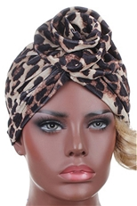 A Dozen Assorted Color Center Knotted Leopard Turban