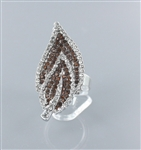 Rhinestone Leaf Ring