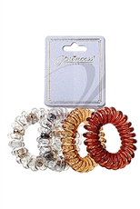 A Dozen Assorted Color 4-pc Phone Cord Hair Tie Set