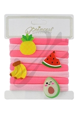 A Dozen Assorted Color 8-pc Fruit Theme Hair Tie Set