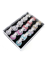 Dozen Assorted Color Rhinestone Fashion Ring
