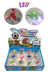 A Dozen Assorted Color Dinosaur LED Hi-Bouncing Ball